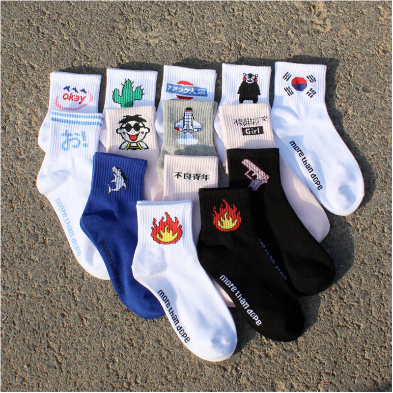 Fashion harajuku Cactus Shark Pistol Airplane Flame Mong Tsai Pattern Women   Socks   casual streetwear hip hop Cotton Short   Socks