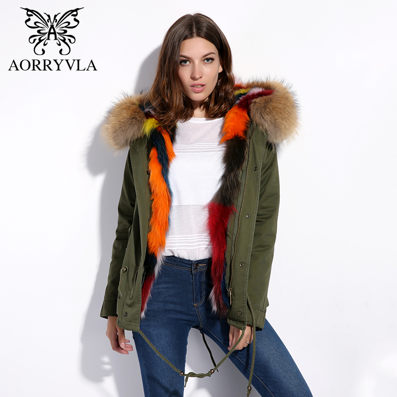 AORRYVLA Real Fur   Parka   For Women Winter 2018 Large Raccoon Fur Hooded Coat Thick Warm Fox Fur Lining Short Jacket Good Quality
