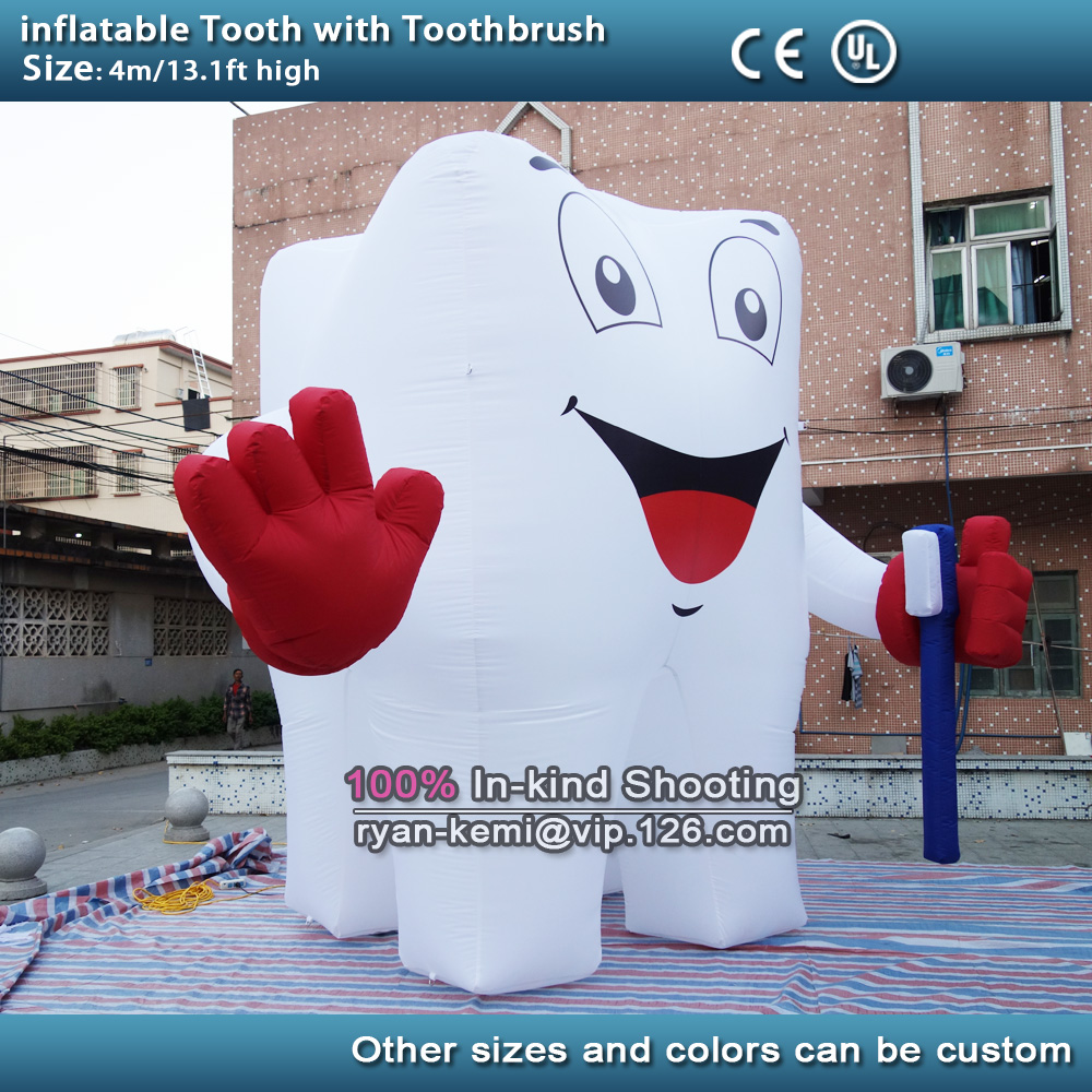 4m 13ft high inflatable tooth with toothbrush 4 legs inflatable tooth for dental advertising giant inflatable molar balloon image