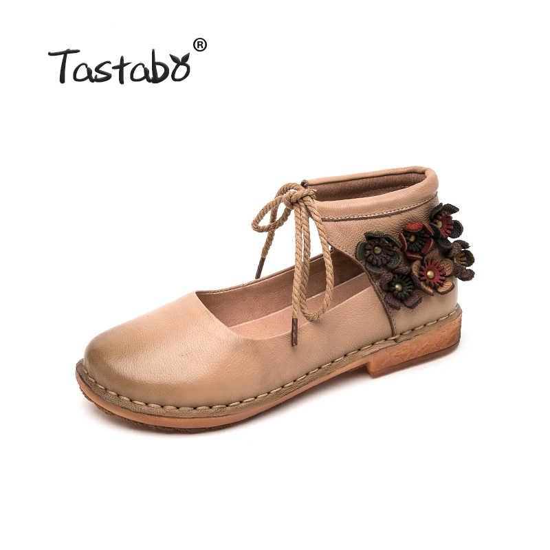 Tastabo Deri yumuşak tabanlı ayakkabı Rahat Vahşi kadın ayakkabısı Düz kadın ayakkabısı Basit Edebi çıkartması tasarım tek ayakkabı