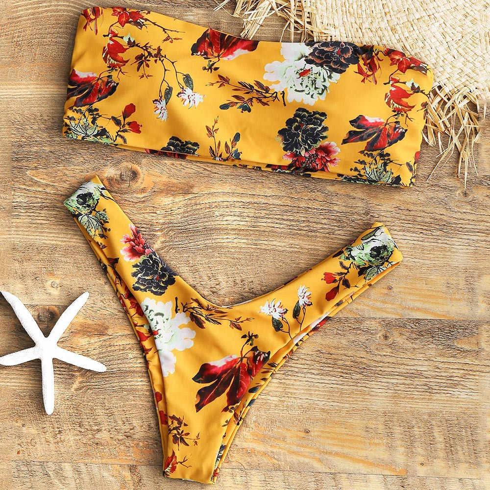 2020 maillots de bain femmes jaune imprimé fleuri maillot de bain pour femmes Sexy élégant Tankini maillots de bain femmes deux pièces maillot de bain femmes