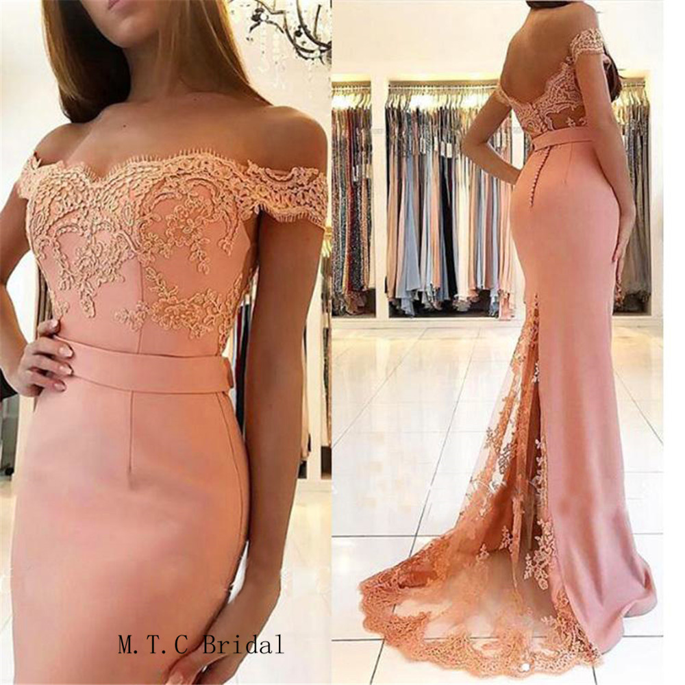 Blush Pink Long Elegant Formal Evening Dress 2019 Off The Shoulder Lace Elastic Satin Mermaid Cheap