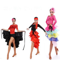 New 2017 women stage dance wear costume Latin Dance skirt Adult costume children salsa dance tango robe samba dance skirts