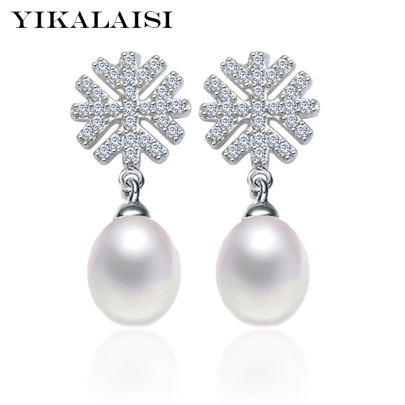YIKALAISI 2017 100% natural freshwater pearl long earrings 8-9mm real - Fine Jewelry