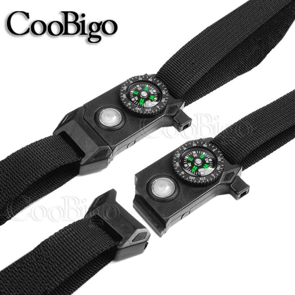 NEW Compass Whistle Release Buckle Paracord Bracelet Outdoor Emergency Survival