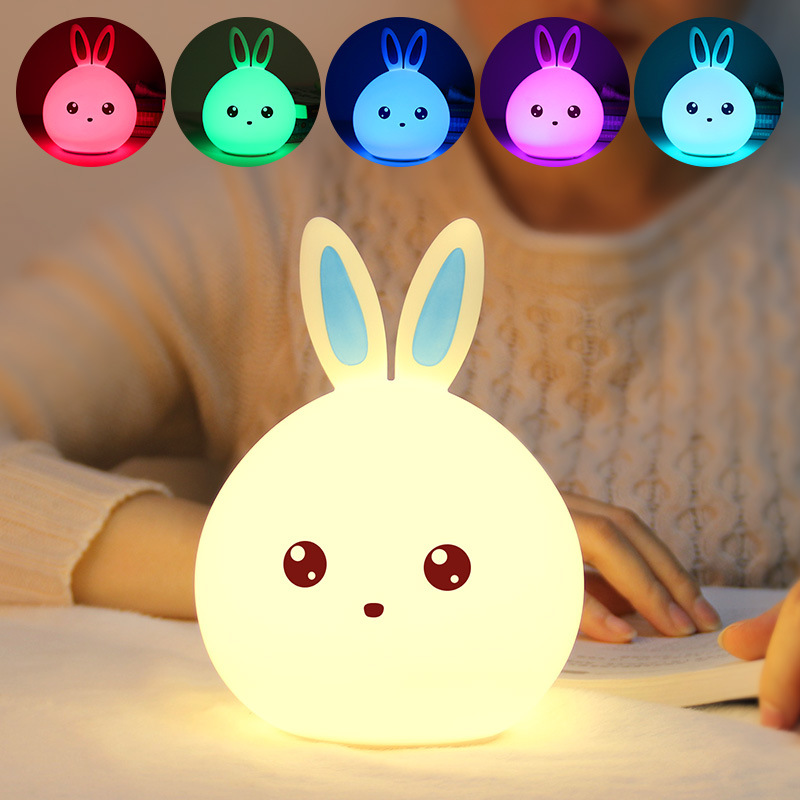 New year gift Cute Rabbit LED Night Light RGB Multicolor Silicone Touch Sensor For Children Baby Bedside Lamp Control Nightlight