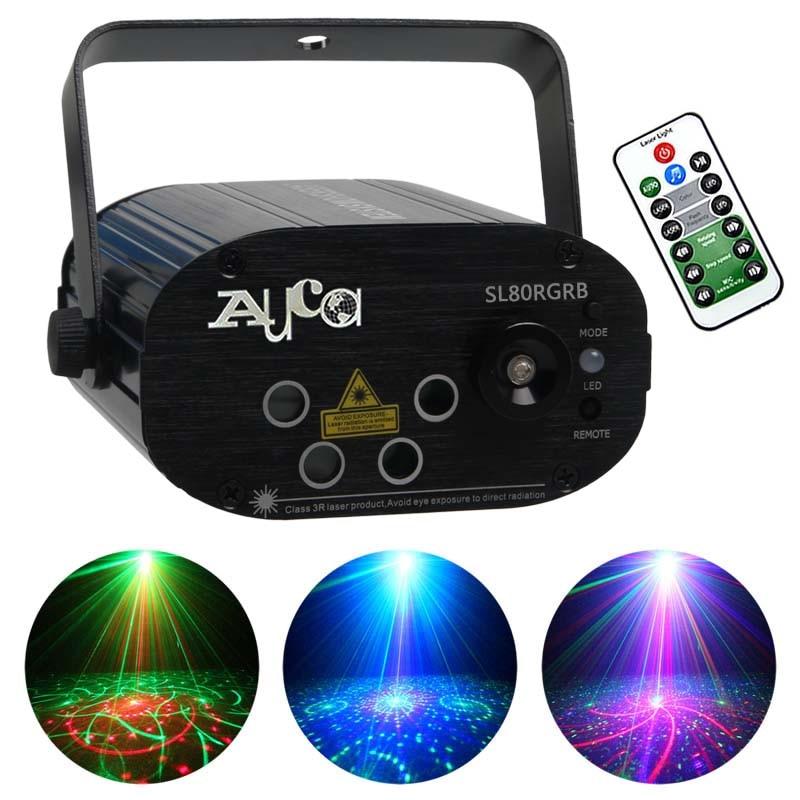 Mini Remote RGRB 4 čočky 80 Gobos laserová světla modrá LED fáze osvětlení strany Vánoce Vánoce profesionální nastavení rychlosti lampy SL80RGRB
