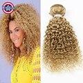 Blonde Brazilian Virgin Hair Kinky Curly 3 Bundles Honey Blonde Human Hair Extensions Brazilian Blonde Curly Hair Extensions 27#