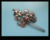 3D Flower Miao Silver Pinach Flower Hair Stick Hanfu Accessories Traditional Antique Pinach Artwork Palace Accessories