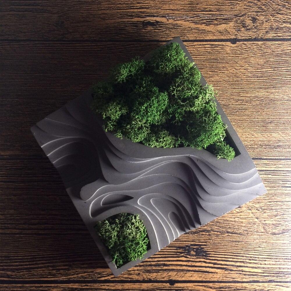 Gel de silice silicone moule ciment moules stockage béton en terrasses champs moules muti-viande pots de fleurs moule pour décorations de bureau