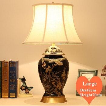Europäische retro schwarz keramik kunst große Tisch Lampen Touch Schalter stoff kupfer basis E27 LED lampe für nacht & foyer & tee zimmer MF084