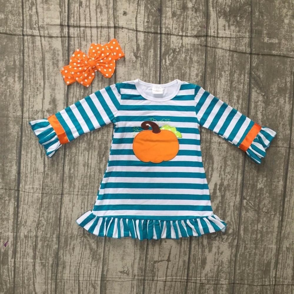 baby girls Halloween dress children girls stripe dress with pumpkin print Halloween party dress with bows cotton dress with bows
