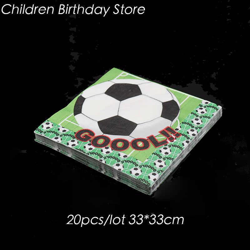 20 unids/pack de servilletas desechables con tema de fútbol, decoraciones para fiesta de cumpleaños, servilletas de fútbol, vajilla desechable para fiestas