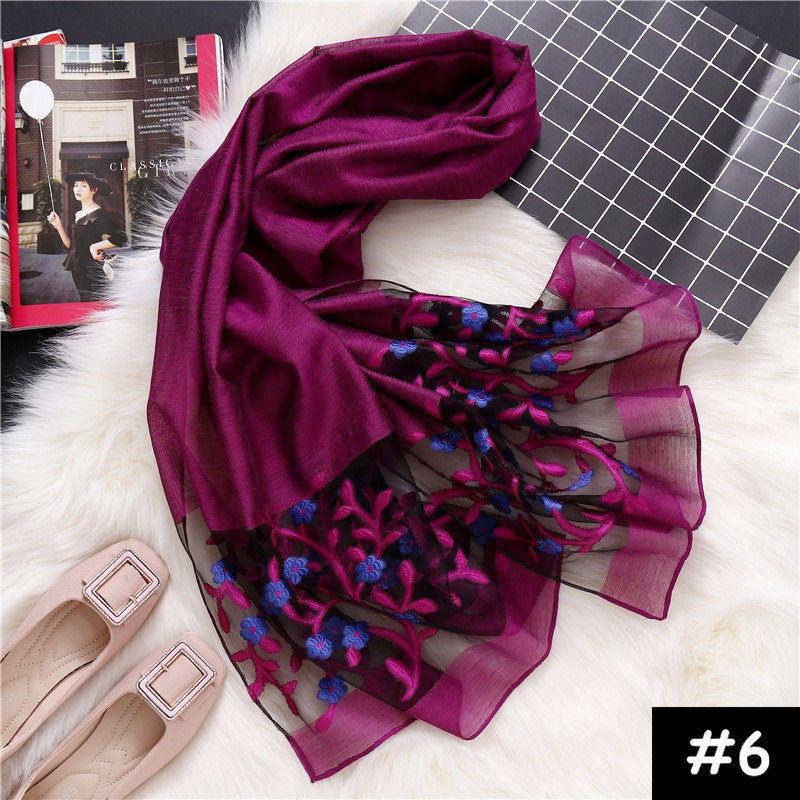 High Quality Luxury Lace Flower Shawls Flower Embroidery Scarf-women Cotton Pashmina Bandana Muslim Echarpe Wraps Muffler 10pcs