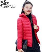 UHYTGF 4XL Plus Size Winter Jacket Women Parkas Thin Outerwear Hooded Coat Short Jacket Female Slim Cotton padded Basic Tops 118