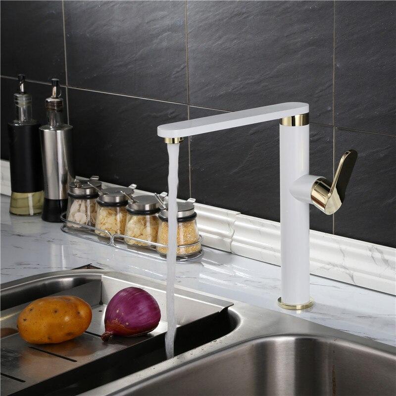 Évier de cuisine en cuivre noir blanc européen robinet de lavabo à eau chaude et froide