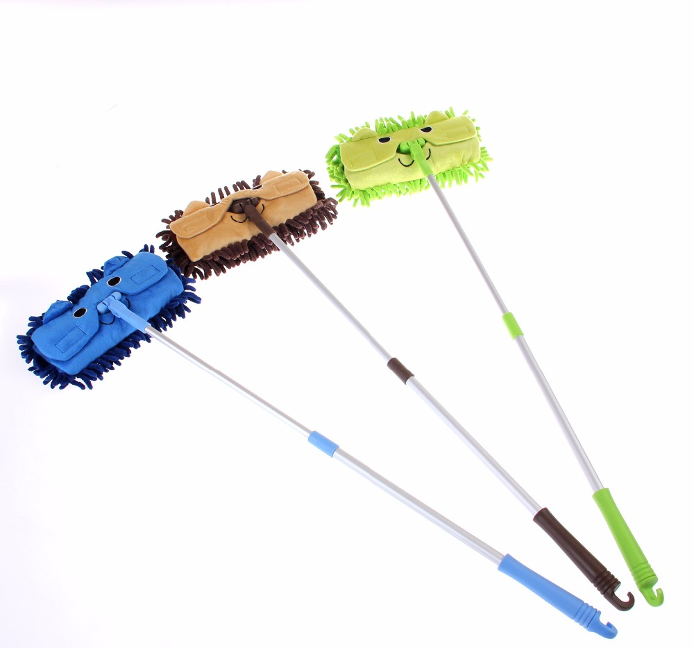 Mini Cartoon Telescopic Floor Mops Clean Tool Kids Children Absorbent Mops Household Cleaning Decontaminating Dust Tools Home