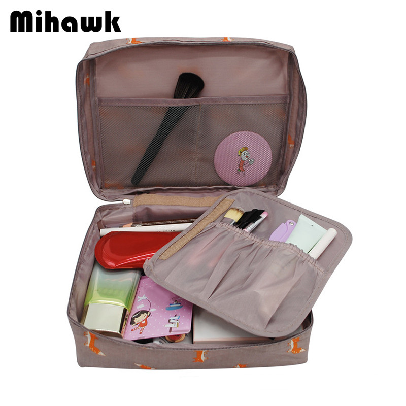 Mihawk Women's Fashion Fox Pattern Cosmetic Bag Travel Necessary Cosmetics Markup Bag Storage Organizer Accessories Supply Gear solid color fashion cosmetic bag ladies portable travel necessary markup pouch storage beauty tools accessories supply products