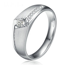 Diamond Wedding Ring for Men 0.08+0.07ct Natural Diamond Solid 18K White Gold Handmade Engagement Jewelry