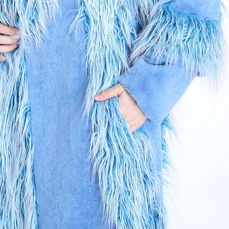Nerazzurri מותג מסלול יוקרה פו פרווה מעיל נשים 2018 חורף באיכות גבוהה אופנה פרווה טלאי פרווה להאריך ימים יותר גודל גדול 5xl