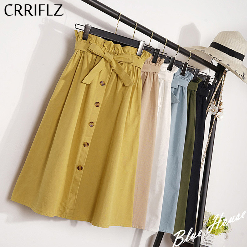 CRRIFLZ Summer Autumn Skirts Womens Midi Knee Length Korean Elegant Button High Waist Skirt Female Pleated School Skirt