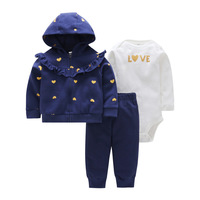 Toddler Girl 3 pcs Cartered Clothing Set (Heart Hooded Coat+Long Sleeve Bodysuit+Long Pants) 6 to 24 Months Baby