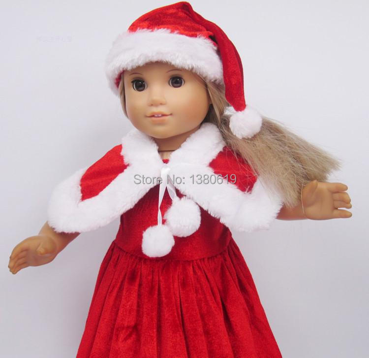 Free shipping!!! hot 2014 new style Popular 18 American girl doll clothes/dress  Christmas hat Christmas dress the dollw100 christmas costume dress for 18 45cm american girl doll santa dress with hat for alexander doll dress