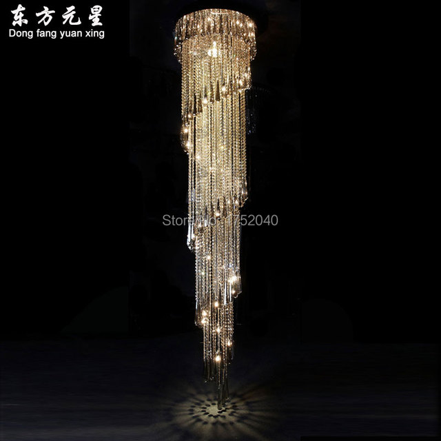 Crystal chandelier led light lamp lustres lighting new style duplex crystal chandelier led light lamp lustres lighting new style duplex house hanging lamp staircase rotating long mozeypictures Gallery