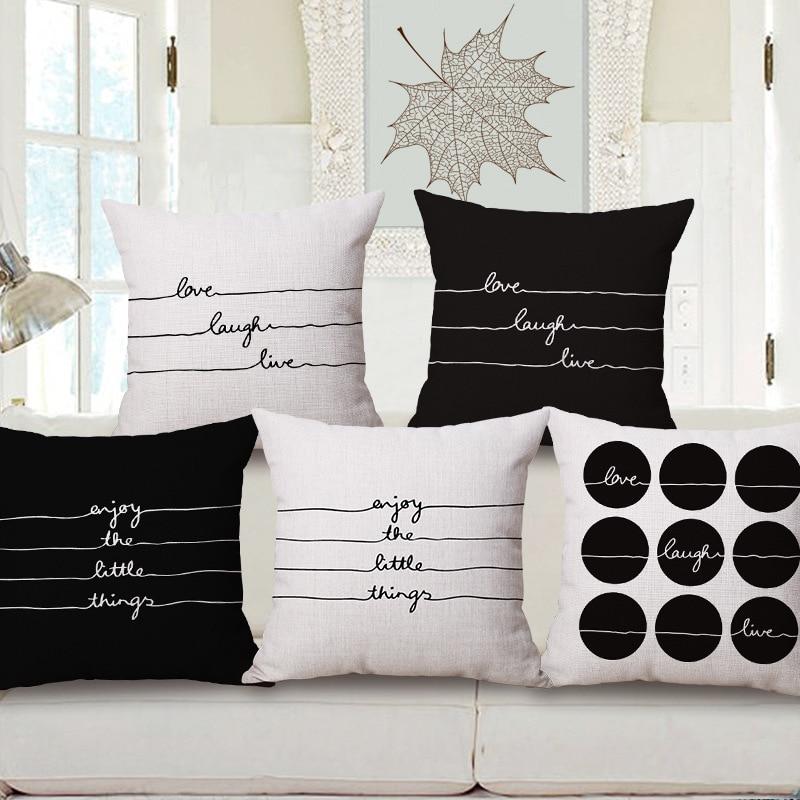 SunnyRain 1 Piece Black And White Writing Cushion Cover