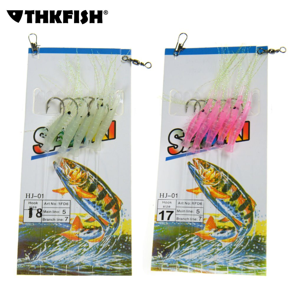 5 Shrimp Rigs Glow in the dark Baits Fishing Lures Catch Hook Sea Bass Unique