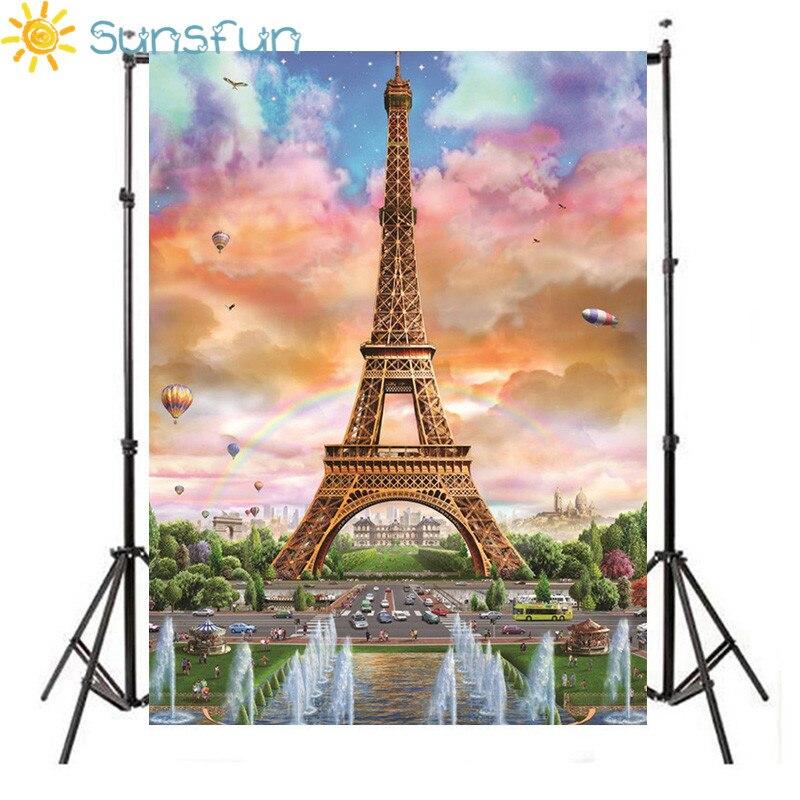 Allenjoy Sweet 16 Birthday Background For Photo Studio Eiffel Tower Party Luxury Photography Backdrop Photobooth Fabric Shoot Elegant Appearance Background