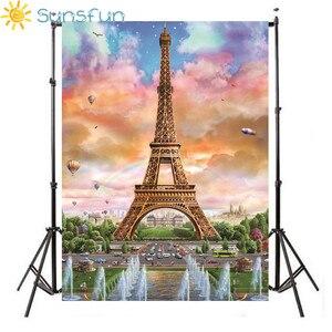 Image 1 - Sunsfun fondos de vinilo globo de fotografía París Torre Eiffel Fondo impreso para fotografía foto de niños