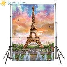 Sunsfun виниловые фотографии воздушный шар декорации Париж Эйфелева башня фотография детей