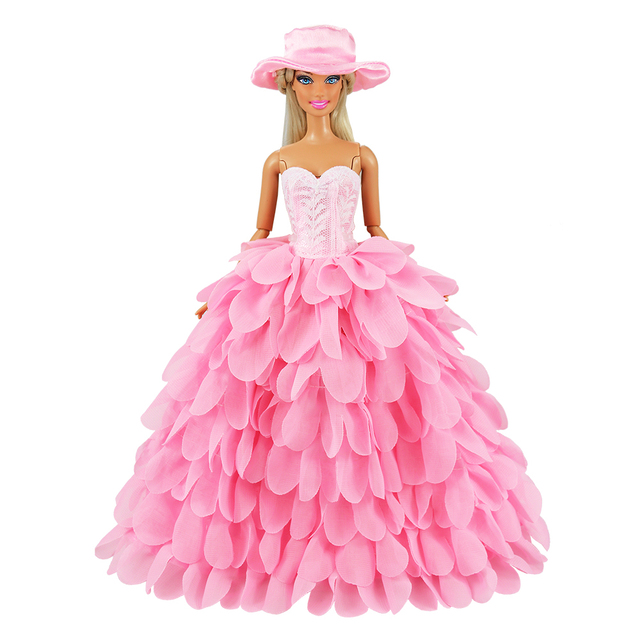 Newest Fashion Handmade Pink White Dress With Hat Wedding Evening Princess Party Clothes Doll accessories For Barbie Doll Gift 1
