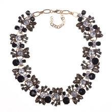 Fashion Colorful Petals Necklace Vintage Clavicle Chain Rhinestone Boutique