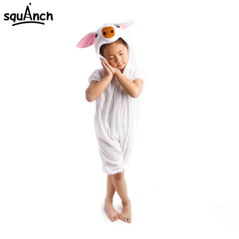 Boys Girls Animal Pajama Halloween White Pig Costume Kids Size 110cm To 130cm Festival Party Wear Short Sleeve Holiday Cute Suit Home
