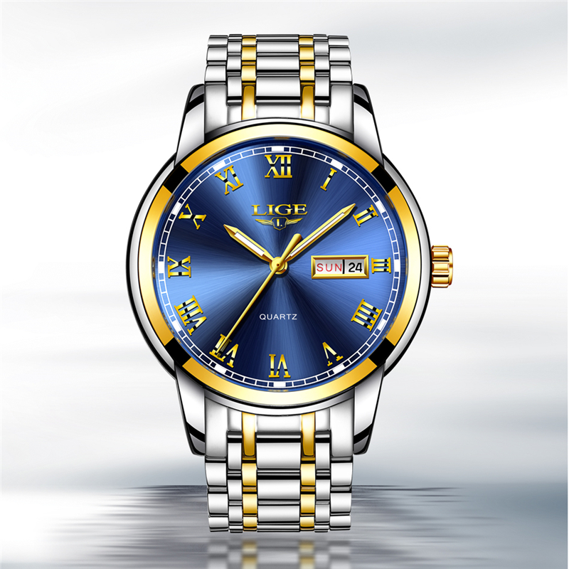 LIGE Gold Blue Couple Watch For Women Quartz Watches Ladies Top Brand Luxury Female WristWatch Girl Gift Clock Relogio FemininoLIGE Gold Blue Couple Watch For Women Quartz Watches Ladies Top Brand Luxury Female WristWatch Girl Gift Clock Relogio Feminino