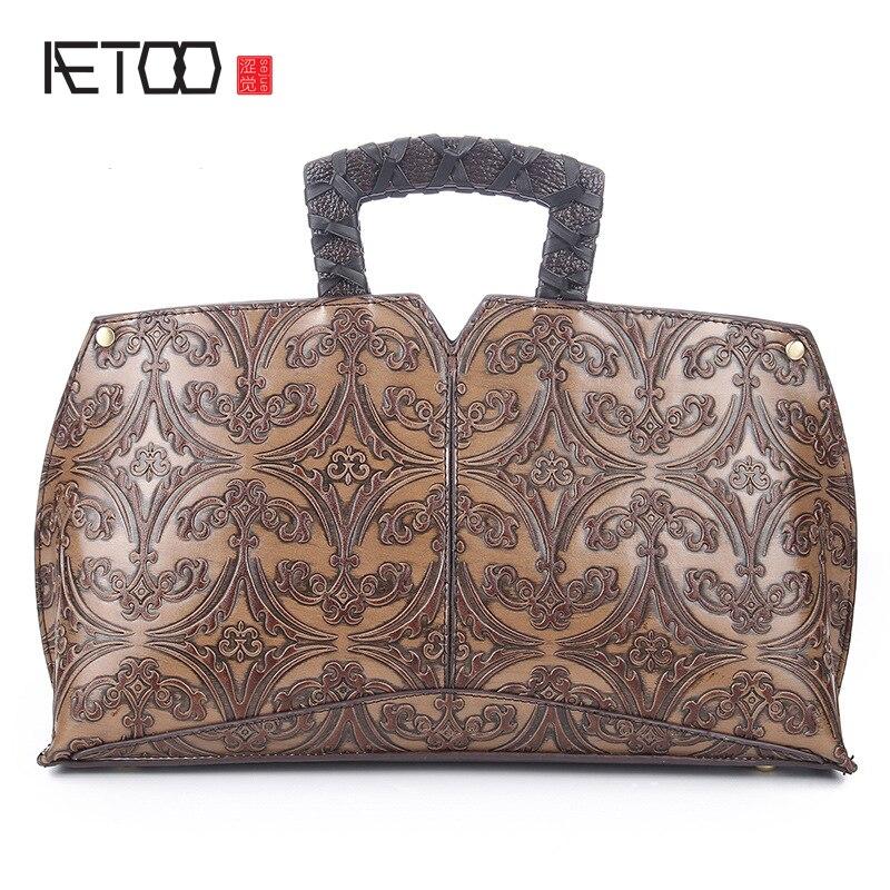 ФОТО Leather retro hand-wiping color diagonal package embossed handbag hand bag leather shoulder bag handbag