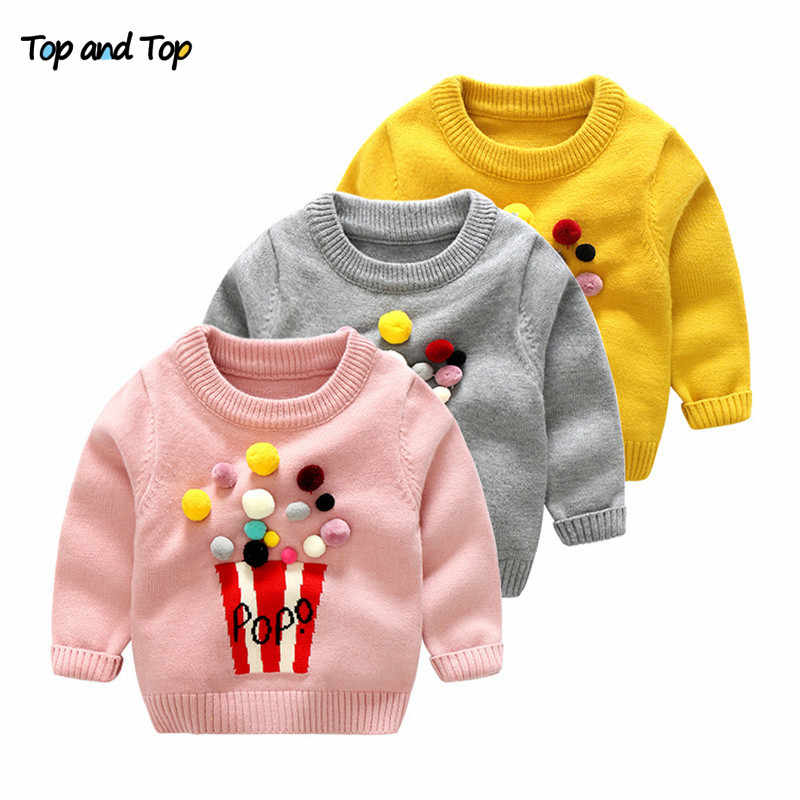 1af42c31718c19 Top and Top Winter Kids Girls Sweaters Popcorn Design Knitted Pullover  Casual Toddler Girls Tops Woolen