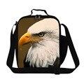 Dispalang bald eagle 3d impresión bolsa de almuerzo para los niños portátil lonchera térmica aislado almuerzo bolso de las mujeres bolsa de alimentos para el trabajo