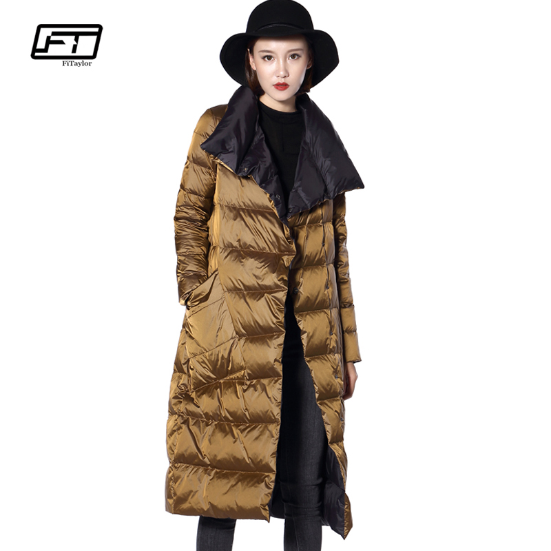 Fitaylor Winter Women Down Long Jacket Turtleneck Double Sided White Duck Down Coat Double Breasted Warm Parkas Snow Outwear Soft And Antislippery