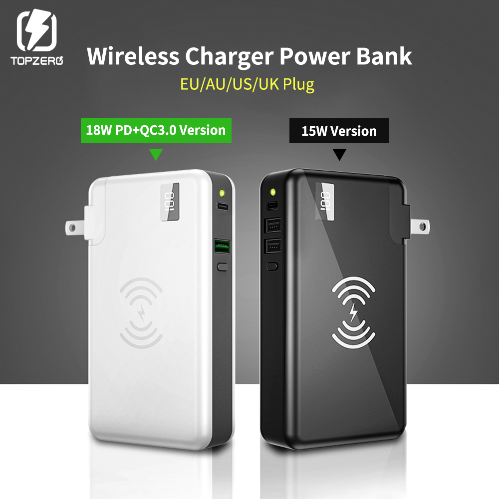 TOPZERO 10000 mAh Wireless Charger Power Bank For Xiaomi Huawei iPhone Samsung Portable LED PD QC 3.0 USB Fast External BatteryTOPZERO 10000 mAh Wireless Charger Power Bank For Xiaomi Huawei iPhone Samsung Portable LED PD QC 3.0 USB Fast External Battery