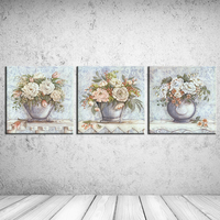 3pcs Abstract About Big Red Flower Oil Painting Print On Canvas Wall Pictures For Bedroom Living