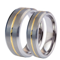 1 Pair Men Women Tungsten Carbide Couple Ring His and Hers Promise Wedding Engagement Band Ring Sets Gold Plated Center