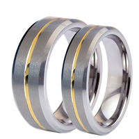 1 Pair Men Women Tungsten Carbide Couple Ring His and Hers Promise Wedding Engagement Band Ring Sets Gold Color Center