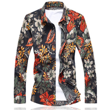 High Quality Mens Shirts Floral M 7XL Red Orange Camisa Social Masculina Slim Fit Camisas Hombre