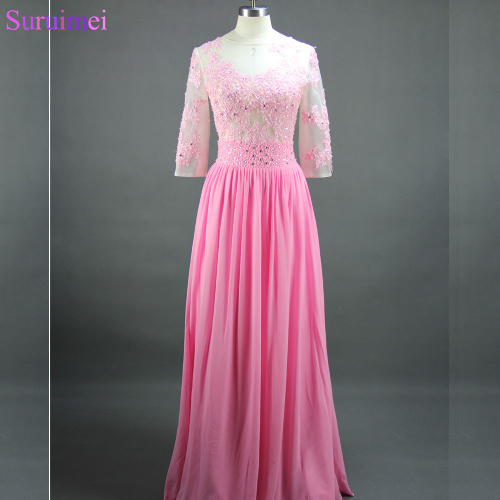 Fashion Lace Applique Rose Pink See Through Evening Dresses Nude Back Sexy Evening Dress Long Prom Dresses