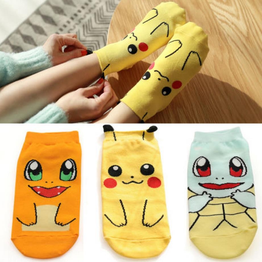 Anime Pokemon Go Pikachu Nintendo Character Pocket Monsters Women Short Socks Cosplay
