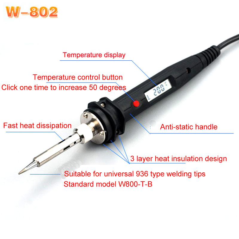 Japan WiT W802 Digital Display Adjustable Temperature Internal Heat Electric Soldering Iron Output 60W 80W 100W Input 110V 220V instax two ring page 6