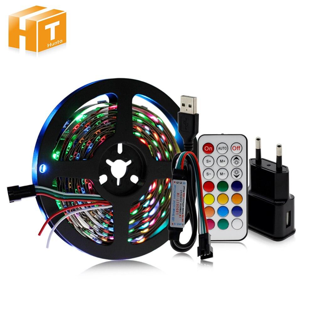 WS2812B bande LED USB 5V ensemble de couleurs de rêve bande LED variable rvb + contrôleur 21Key + adaptateur secteur